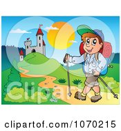 Clipart Man Hiking Up To A Castle Royalty Free Vector Illustration by visekart
