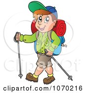Clipart Hiker Using Walking Poles Royalty Free Vector Illustration by visekart