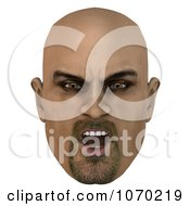 Clipart 3d Mean Bald Mans Face 3 Royalty Free CGI Illustration by Ralf61