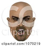 Clipart 3d Mean Bald Mans Face 3 Royalty Free CGI Illustration