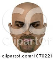 Clipart 3d Bald Mans Face With Closed Eyes 1 Royalty Free CGI Illustration