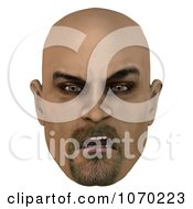 Clipart 3d Mean Bald Mans Face 4 Royalty Free CGI Illustration by Ralf61