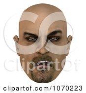 Clipart 3d Mean Bald Mans Face 4 Royalty Free CGI Illustration