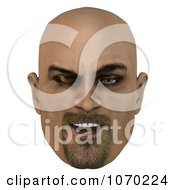 Clipart 3d Winking Bald Mans Face Royalty Free CGI Illustration