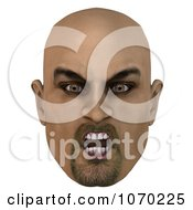 Clipart 3d Mean Bald Mans Face 5 Royalty Free CGI Illustration