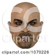 Clipart 3d Mean Bald Mans Face 1 Royalty Free CGI Illustration