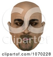 Clipart 3d Bald Mans Face With Closed Eyes 2 Royalty Free CGI Illustration