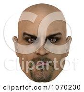 Clipart 3d Mean Bald Mans Face 6 Royalty Free CGI Illustration