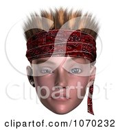 Clipart 3d Skeptical Hoodlum Boy Wearing A Bandana 3 Royalty Free CGI Illustration