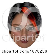 Clipart 3d Girl With A Red Streak In Her Hair Royalty Free CGI Illustration