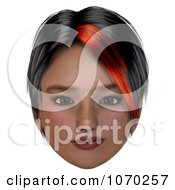 Clipart 3d Skeptical Girl With A Red Streak In Her Hair 1 Royalty Free CGI Illustration