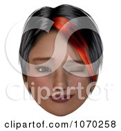 Clipart 3d Winking Girl With A Red Streak In Her Hair Royalty Free CGI Illustration