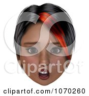 Clipart 3d Shocked Girl With A Red Streak In Her Hair Royalty Free CGI Illustration