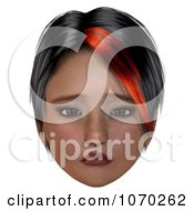 Clipart 3d Sad Girl With A Red Streak In Her Hair Royalty Free CGI Illustration