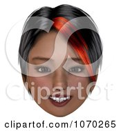 Clip Art 3d Smiling Girl With A Red Streak In Her Hair Royalty Free CGI Illustration