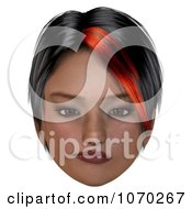 Clipart 3d Skeptical Girl With A Red Streak In Her Hair 2 Royalty Free CGI Illustration