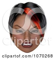 Clipart 3d Mean Girl With A Red Streak In Her Hair 1 Royalty Free CGI Illustration