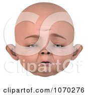 Clipart 3d Upset Baby Face Royalty Free CGI Illustration