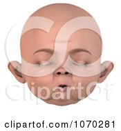 Clipart 3d Baby Face With Closed Eyes 2 Royalty Free CGI Illustration