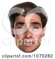 Clipart 3d Sad Mans Face Royalty Free CGI Illustration