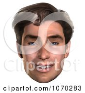 Clipart 3d Mans Face 3 Royalty Free CGI Illustration