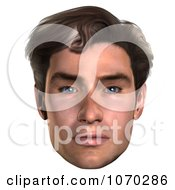 Clipart 3d Mans Face 1 Royalty Free CGI Illustration