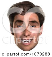 Clipart 3d Mans Face 4 Royalty Free CGI Illustration