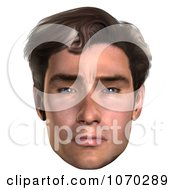 Clipart 3d Skeptical Mans Face Royalty Free CGI Illustration