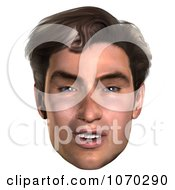 Clipart 3d Mans Face 5 Royalty Free CGI Illustration