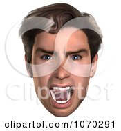 Clipart 3d Mean Mans Face 2 Royalty Free CGI Illustration