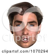 Clipart 3d Shushing Mans Face Royalty Free CGI Illustration