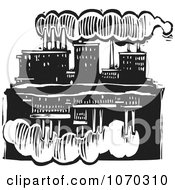 Clipart Woodcut Styled Factory And Reflection Royalty Free Vector Illustration