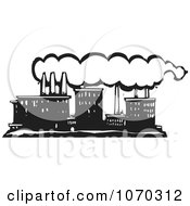 Clipart Woodcut Styled Line Factory Royalty Free Vector Illustration