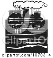 Clipart Woodcut Styled Waterfront Factory Royalty Free Vector Illustration