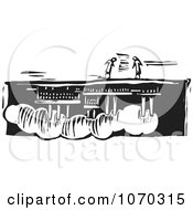Clipart Woodcut Styled People Over An Upside Down Factory Royalty Free Vector Illustration