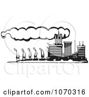Clipart Woodcut Styled Line Of People Walking By A Factory Royalty Free Vector Illustration