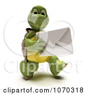 Clipart 3d Tortoise Carrying An Envelope Royalty Free CGI Illustration