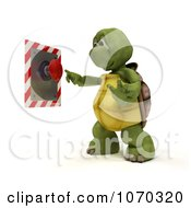 Clipart 3d Tortoise Pushing A Button Royalty Free CGI Illustration