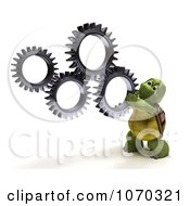Clipart 3d Tortoise Holding Up Gears Royalty Free CGI Illustration