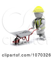 Clipart 3d White Character Moving Cement In A Wheelbarrow Royalty Free CGI Illustration by KJ Pargeter