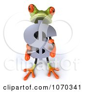 Clipart 3d Business Springer Frog Holding A Dollar Symbol 1 Royalty Free CGI Illustration
