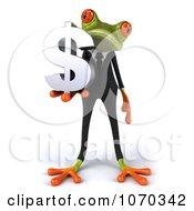 Clipart 3d Business Springer Frog Holding A Dollar Symbol 2 Royalty Free CGI Illustration