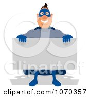 Clipart Blue Super Hero Holding A Sign 1 Royalty Free Illustration
