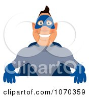Clipart Blue Super Hero Holding A Sign 3 Royalty Free Illustration