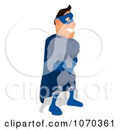 Clipart Blue Super Hero Facing Right 1 Royalty Free Illustration