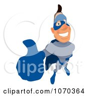 Clipart Blue Super Hero Holding A Thumb Up 1 Royalty Free Illustration