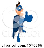 Clipart Blue Super Hero Holding A Thumb Up 2 Royalty Free Illustration