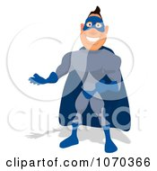Clipart Blue Super Hero Presenting Royalty Free Illustration