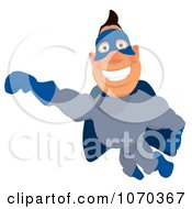 Clipart Blue Super Hero Flying 1 Royalty Free Illustration