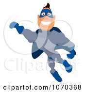 Clipart Blue Super Hero Flying 2 Royalty Free Illustration